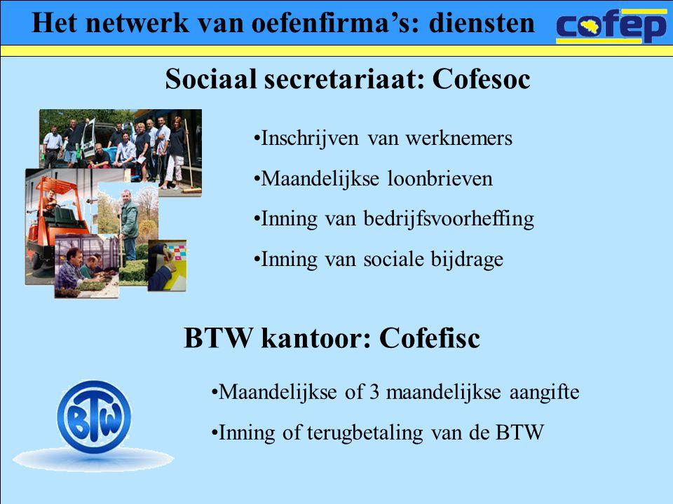 Het netwerk van oefenfirma's: diensten Sociaal secretariaat: Cofesoc •Inschrijven van werknemers •Maandelijkse loonbrieven •Inning van bedrijfsvoorhef
