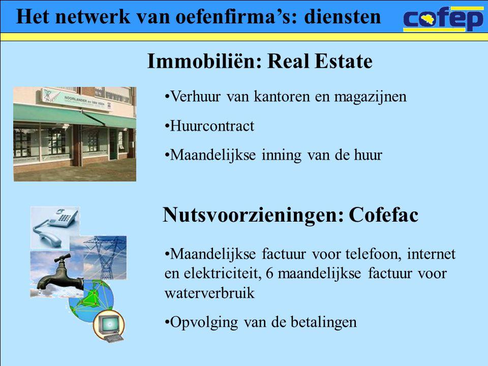 Het netwerk van oefenfirma's: diensten Immobiliën: Real Estate •Verhuur van kantoren en magazijnen •Huurcontract •Maandelijkse inning van de huur Nuts