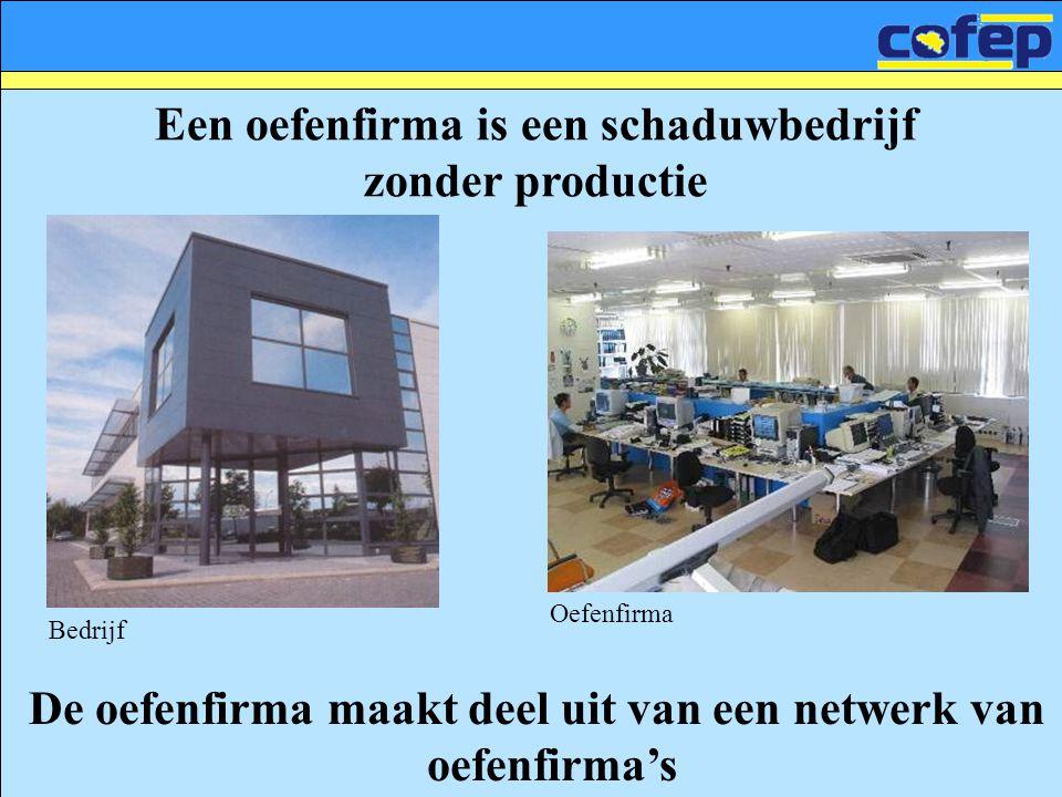 Een oefenfirma is een schaduwbedrijf zonder productie De oefenfirma maakt deel uit van een netwerk van oefenfirma's Bedrijf Oefenfirma