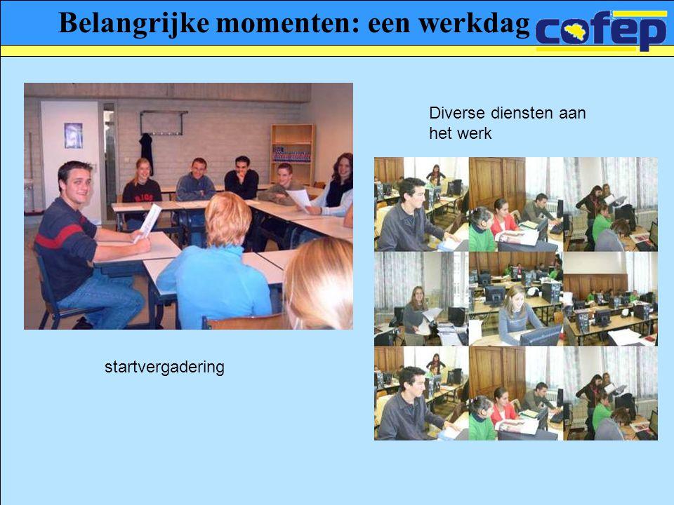 Belangrijke momenten: een werkdag Diverse diensten aan het werk startvergadering