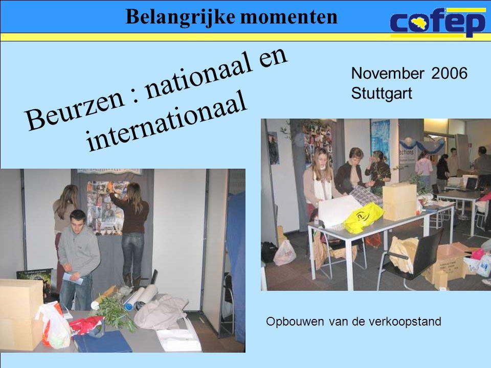 Belangrijke momenten Beurzen : nationaal en internationaal Opbouwen van de verkoopstand November 2006 Stuttgart