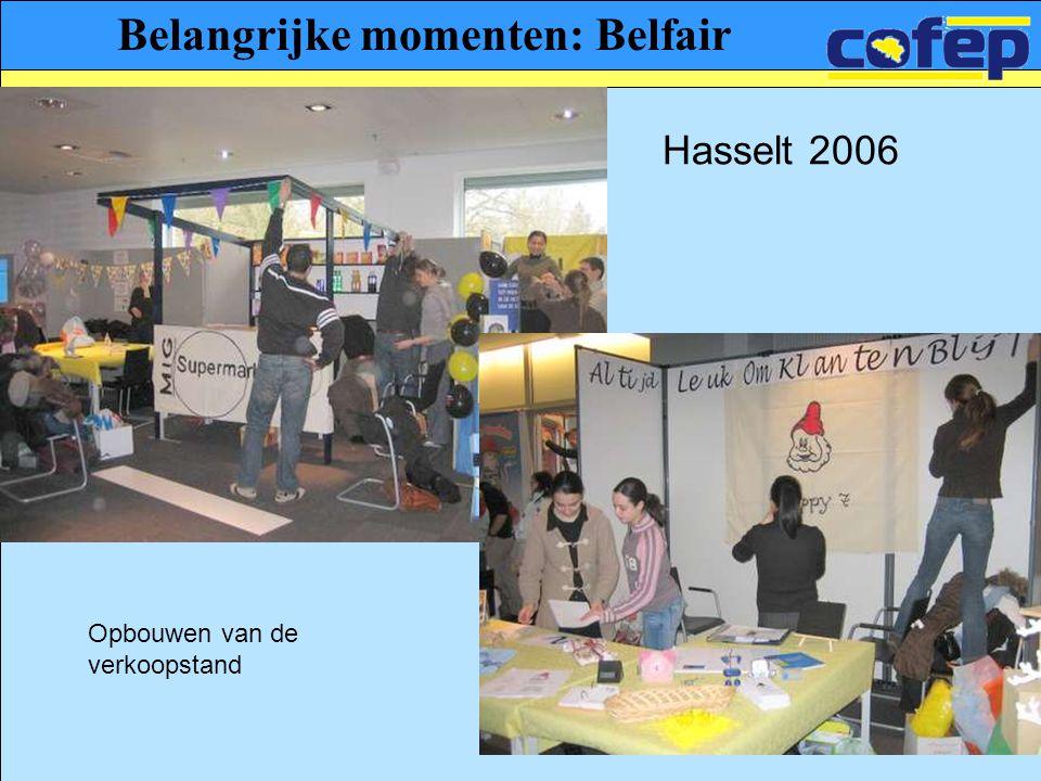 Belangrijke momenten: Belfair Hasselt 2006 Opbouwen van de verkoopstand