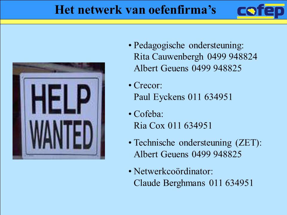 Het netwerk van oefenfirma's •Pedagogische ondersteuning: Rita Cauwenbergh 0499 948824 Albert Geuens 0499 948825 •Crecor: Paul Eyckens 011 634951 •Cof