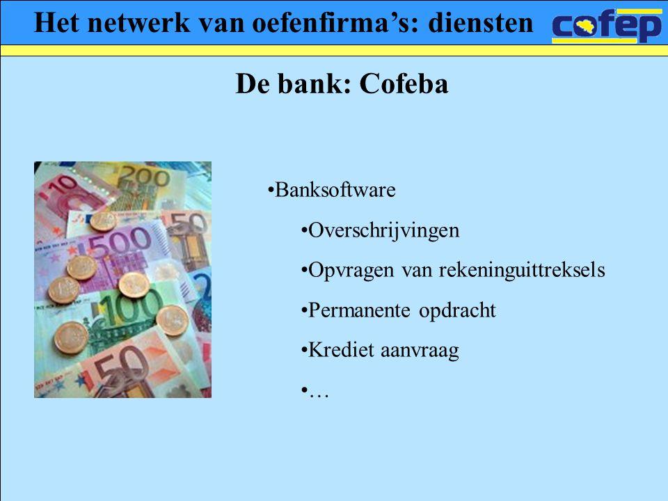 Het netwerk van oefenfirma's: diensten De bank: Cofeba •Banksoftware •Overschrijvingen •Opvragen van rekeninguittreksels •Permanente opdracht •Krediet