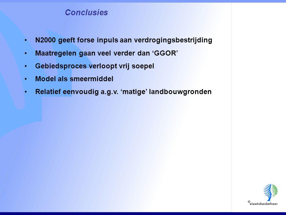 Conclusies •N2000 geeft forse inpuls aan verdrogingsbestrijding •Maatregelen gaan veel verder dan 'GGOR' •Gebiedsproces verloopt vrij soepel •Model als smeermiddel •Relatief eenvoudig a.g.v.