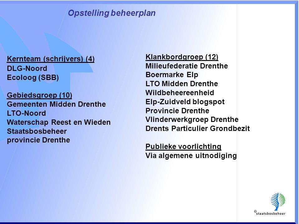 Opstelling beheerplan Kernteam (schrijvers) (4) DLG-Noord Ecoloog (SBB) Gebiedsgroep (10) Gemeenten Midden Drenthe LTO-Noord Waterschap Reest en Wieden Staatsbosbeheer provincie Drenthe Klankbordgroep (12) Milieufederatie Drenthe Boermarke Elp LTO Midden Drenthe Wildbeheereenheid Elp-Zuidveld blogspot Provincie Drenthe Vlinderwerkgroep Drenthe Drents Particulier Grondbezit Publieke voorlichting Via algemene uitnodiging