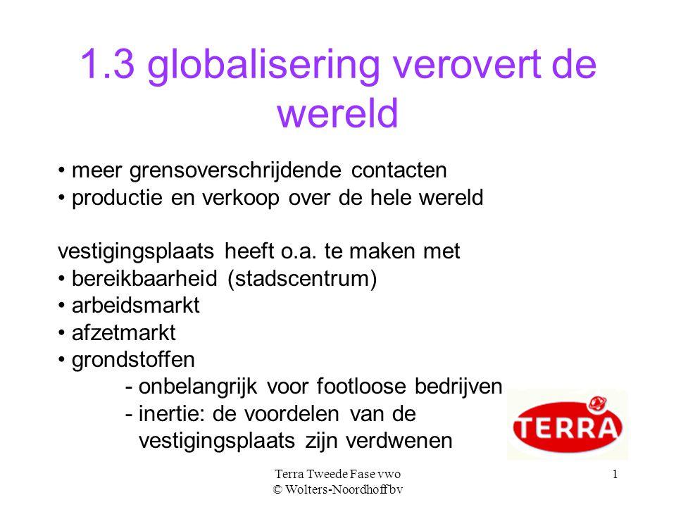 Terra Tweede Fase vwo © Wolters-Noordhoff bv 1 1.3 globalisering verovert de wereld • meer grensoverschrijdende contacten • productie en verkoop over de hele wereld vestigingsplaats heeft o.a.