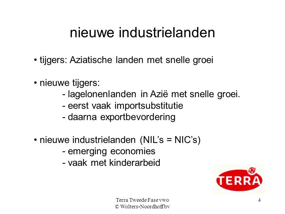 Terra Tweede Fase vwo © Wolters-Noordhoff bv 4 nieuwe industrielanden • tijgers: Aziatische landen met snelle groei • nieuwe tijgers: - lagelonenlanden in Azië met snelle groei.