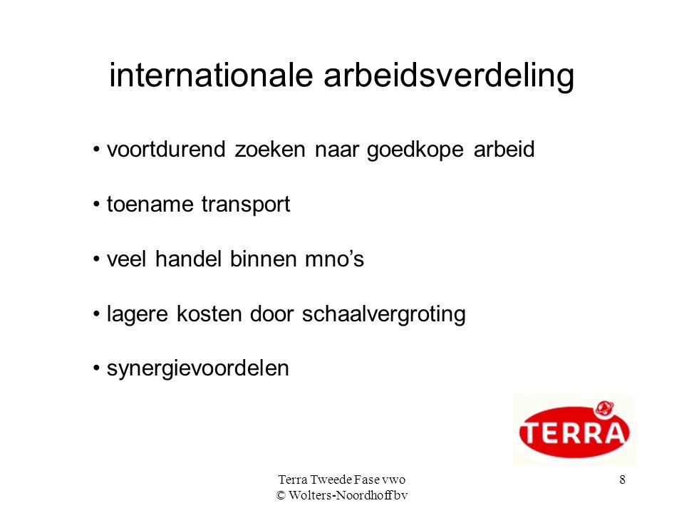 Terra Tweede Fase vwo © Wolters-Noordhoff bv 8 internationale arbeidsverdeling • voortdurend zoeken naar goedkope arbeid • toename transport • veel handel binnen mno's • lagere kosten door schaalvergroting • synergievoordelen