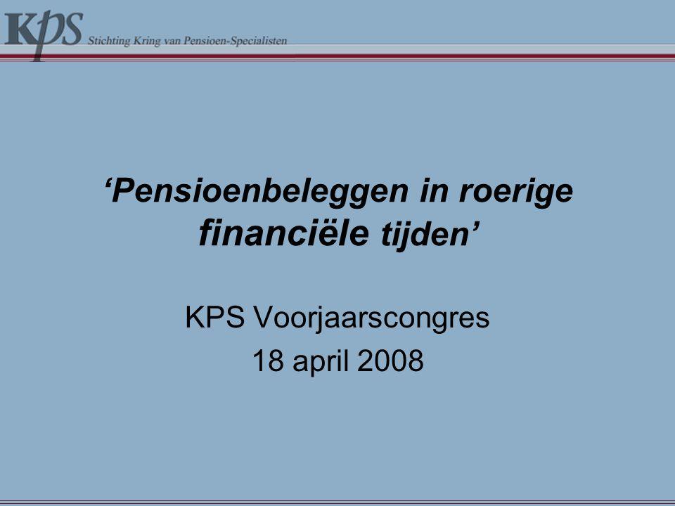 Gevolgen voor financiële markten Gevolgen van kredietcrisis en recessieangst: -Forse daling wereldwijde aandelenmarkten in 2008 (met name financiële instellingen).