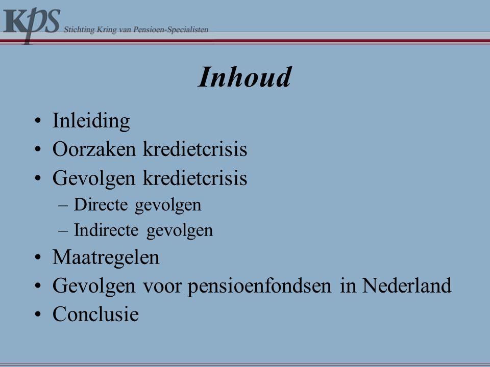 Inhoud •Inleiding •Oorzaken kredietcrisis •Gevolgen kredietcrisis –Directe gevolgen –Indirecte gevolgen •Maatregelen •Gevolgen voor pensioenfondsen in Nederland •Conclusie