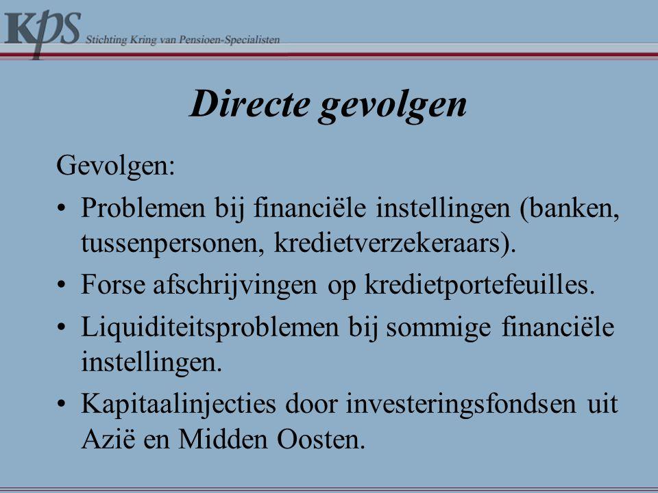 Directe gevolgen Gevolgen: •Problemen bij financiële instellingen (banken, tussenpersonen, kredietverzekeraars). •Forse afschrijvingen op kredietporte