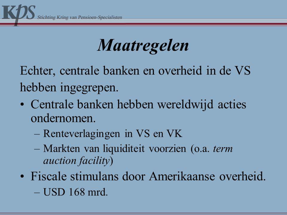 Maatregelen Echter, centrale banken en overheid in de VS hebben ingegrepen. •Centrale banken hebben wereldwijd acties ondernomen. –Renteverlagingen in