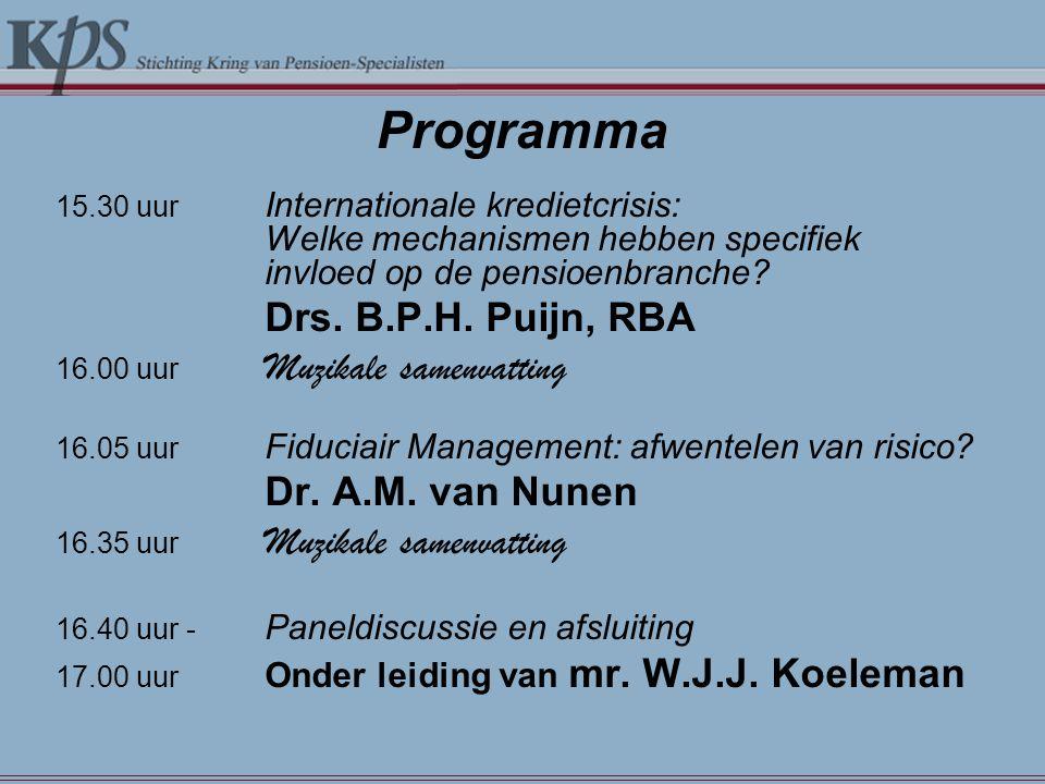 Programma 15.30 uur Internationale kredietcrisis: Welke mechanismen hebben specifiek invloed op de pensioenbranche? Drs. B.P.H. Puijn, RBA 16.00 uur M