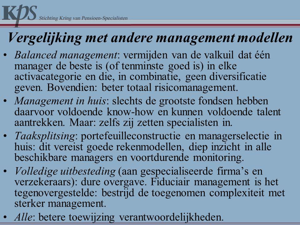 Vergelijking met andere management modellen •Balanced management: vermijden van de valkuil dat één manager de beste is (of tenminste goed is) in elke activacategorie en die, in combinatie, geen diversificatie geven.