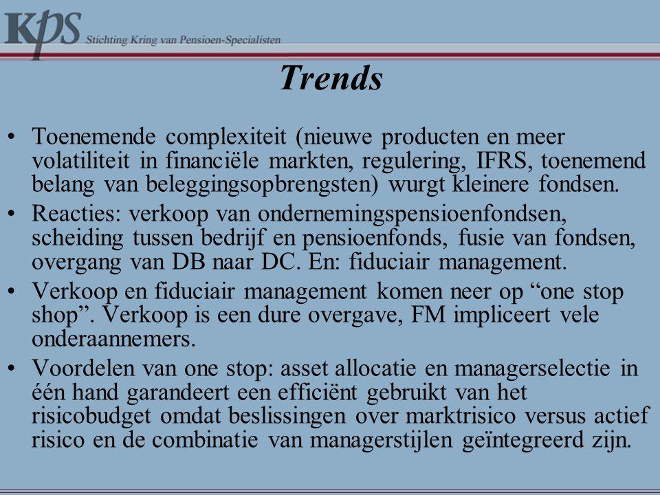 Trends •Toenemende complexiteit (nieuwe producten en meer volatiliteit in financiële markten, regulering, IFRS, toenemend belang van beleggingsopbrengsten) wurgt kleinere fondsen.