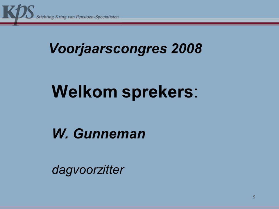 Voorjaarscongres 2008 Welkom sprekers: W. Gunneman dagvoorzitter 5