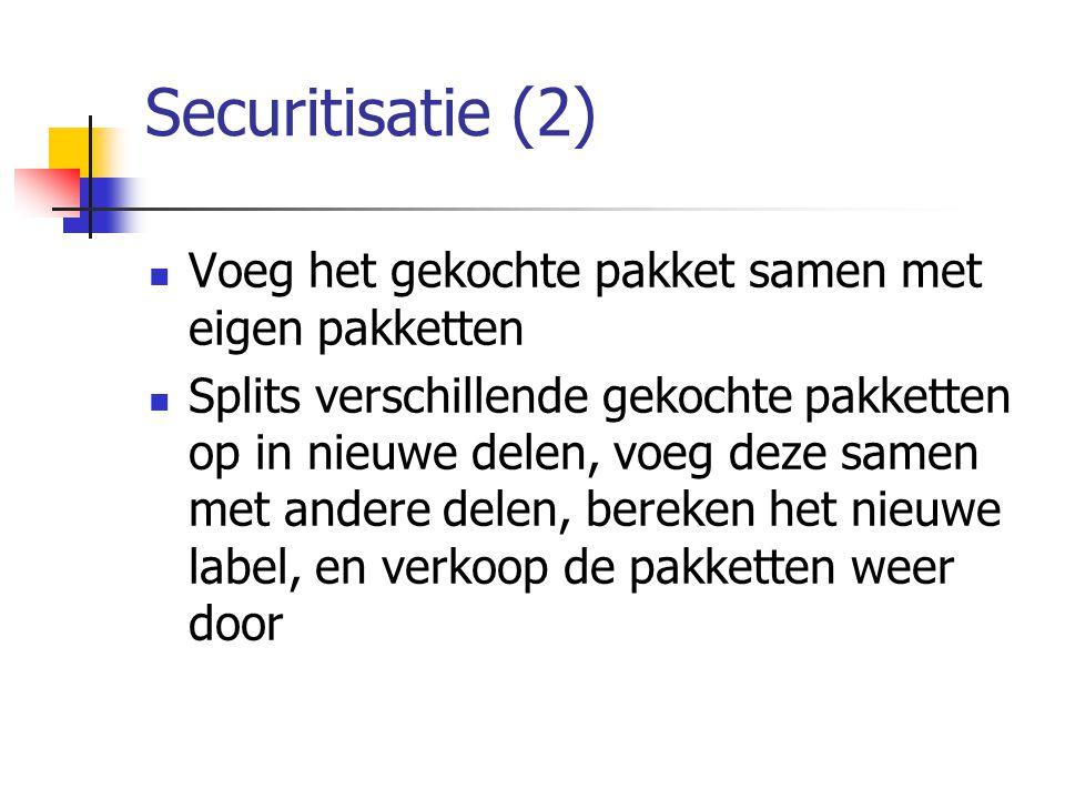 Securitisatie (2)  Voeg het gekochte pakket samen met eigen pakketten  Splits verschillende gekochte pakketten op in nieuwe delen, voeg deze samen met andere delen, bereken het nieuwe label, en verkoop de pakketten weer door