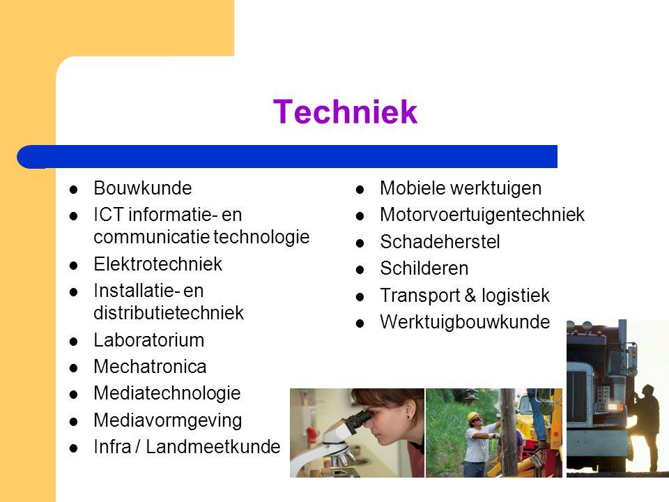 Techniek  Bouwkunde  ICT informatie- en communicatie technologie  Elektrotechniek  Installatie- en distributietechniek  Laboratorium  Mechatroni
