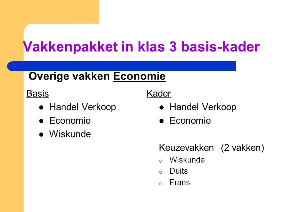 Vakkenpakket in klas 3 basis-kader Overige vakken Economie Basis  Handel Verkoop  Economie  Wiskunde Kader  Handel Verkoop  Economie Keuzevakken