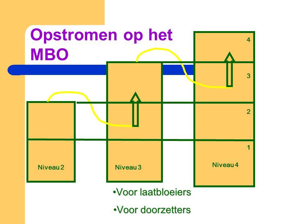 Niveau 4 Niveau 2Niveau 3 •Voor laatbloeiers •Voor doorzetters 43214321 Opstromen op het MBO