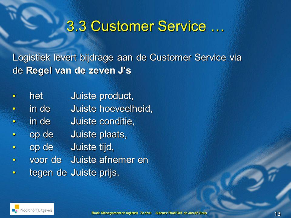 13 Boek: Management en logistiek 2e druk Auteurs: Roel Grit en Jan de Geus 3.3 Customer Service … Logistiek levert bijdrage aan de Customer Service via de Regel van de zeven J's • het Juiste product, • in de Juiste hoeveelheid, • in de Juiste conditie, • op de Juiste plaats, • op de Juiste tijd, • voor de Juiste afnemer en • tegen deJuiste prijs.