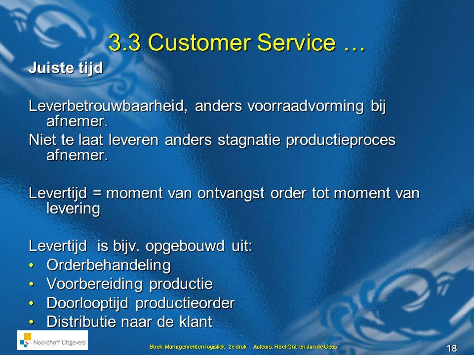 18 Boek: Management en logistiek 2e druk Auteurs: Roel Grit en Jan de Geus 3.3 Customer Service … Juiste tijd Leverbetrouwbaarheid, anders voorraadvorming bij afnemer.