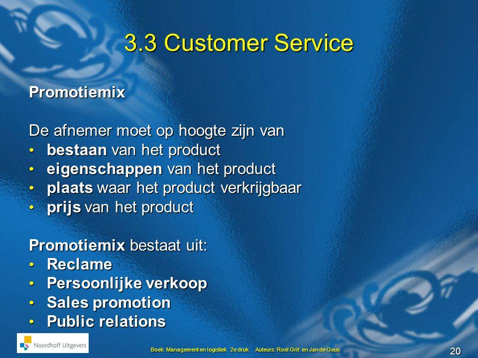 20 Boek: Management en logistiek 2e druk Auteurs: Roel Grit en Jan de Geus 3.3 Customer Service Promotiemix De afnemer moet op hoogte zijn van • besta