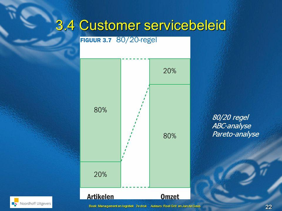 22 Boek: Management en logistiek 2e druk Auteurs: Roel Grit en Jan de Geus 3.4 Customer servicebeleid 80/20 regel ABC-analyse Pareto-analyse