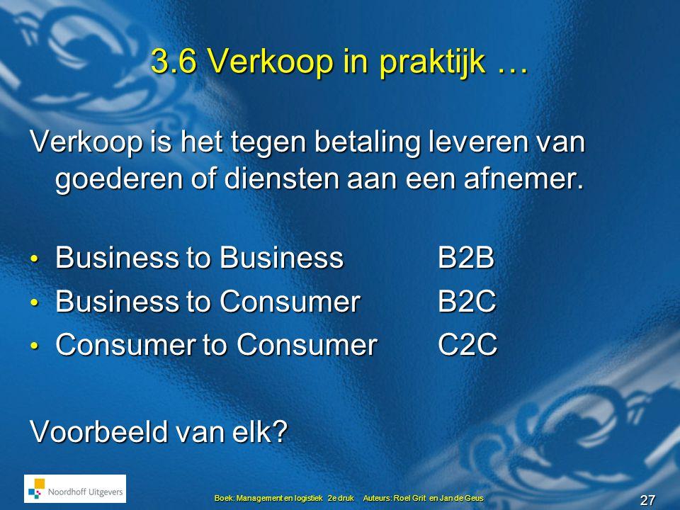 27 Boek: Management en logistiek 2e druk Auteurs: Roel Grit en Jan de Geus 3.6 Verkoop in praktijk … Verkoop is het tegen betaling leveren van goederen of diensten aan een afnemer.
