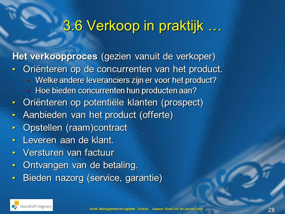 28 Boek: Management en logistiek 2e druk Auteurs: Roel Grit en Jan de Geus 3.6 Verkoop in praktijk … Het verkoopproces (gezien vanuit de verkoper) • Oriënteren op de concurrenten van het product.