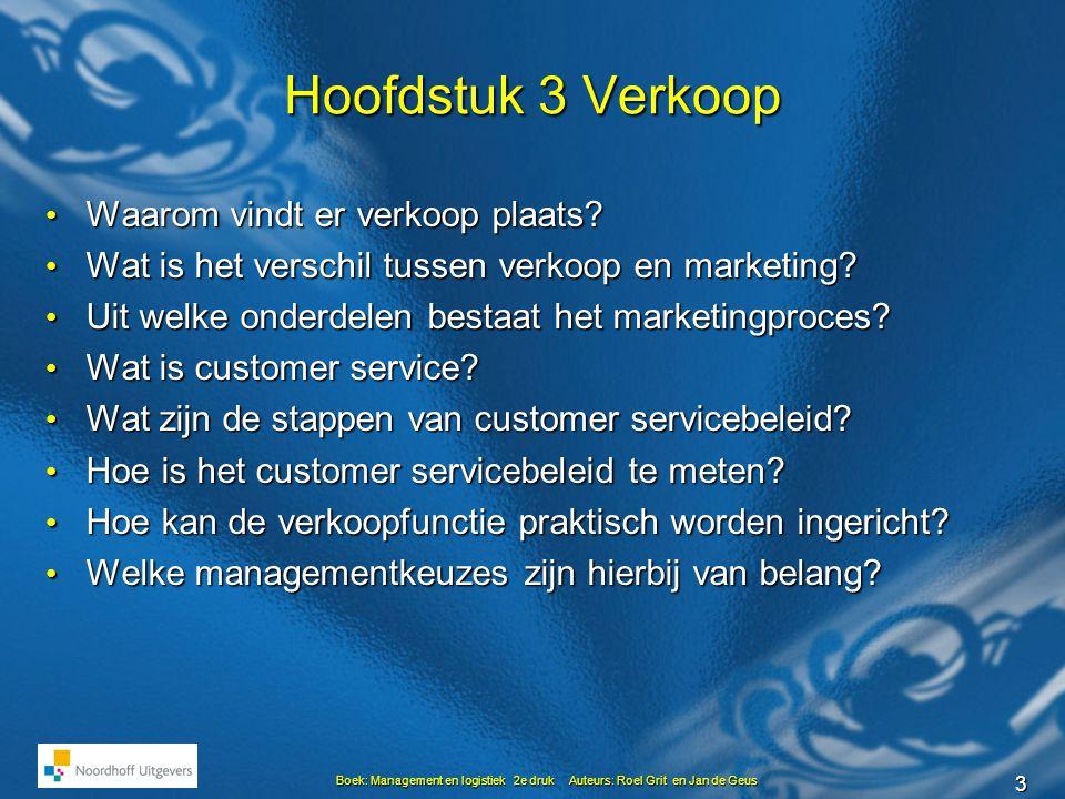 3 Boek: Management en logistiek 2e druk Auteurs: Roel Grit en Jan de Geus Hoofdstuk 3 Verkoop • Waarom vindt er verkoop plaats.
