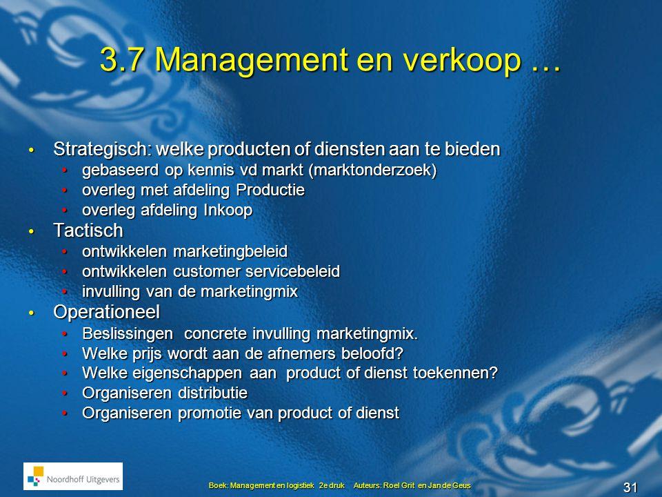 31 Boek: Management en logistiek 2e druk Auteurs: Roel Grit en Jan de Geus 3.7 Management en verkoop … • Strategisch: welke producten of diensten aan