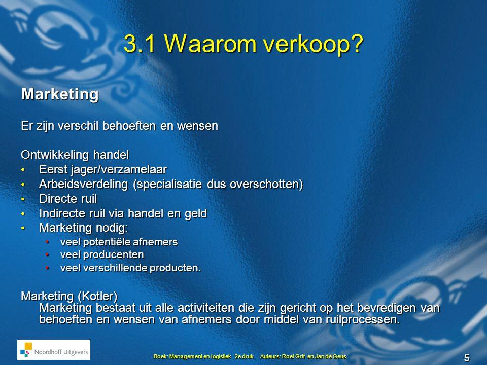 5 Boek: Management en logistiek 2e druk Auteurs: Roel Grit en Jan de Geus 3.1 Waarom verkoop? Marketing Er zijn verschil behoeften en wensen Ontwikkel