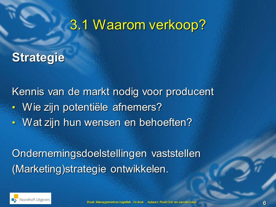 6 Boek: Management en logistiek 2e druk Auteurs: Roel Grit en Jan de Geus 3.1 Waarom verkoop? Strategie Kennis van de markt nodig voor producent • Wie