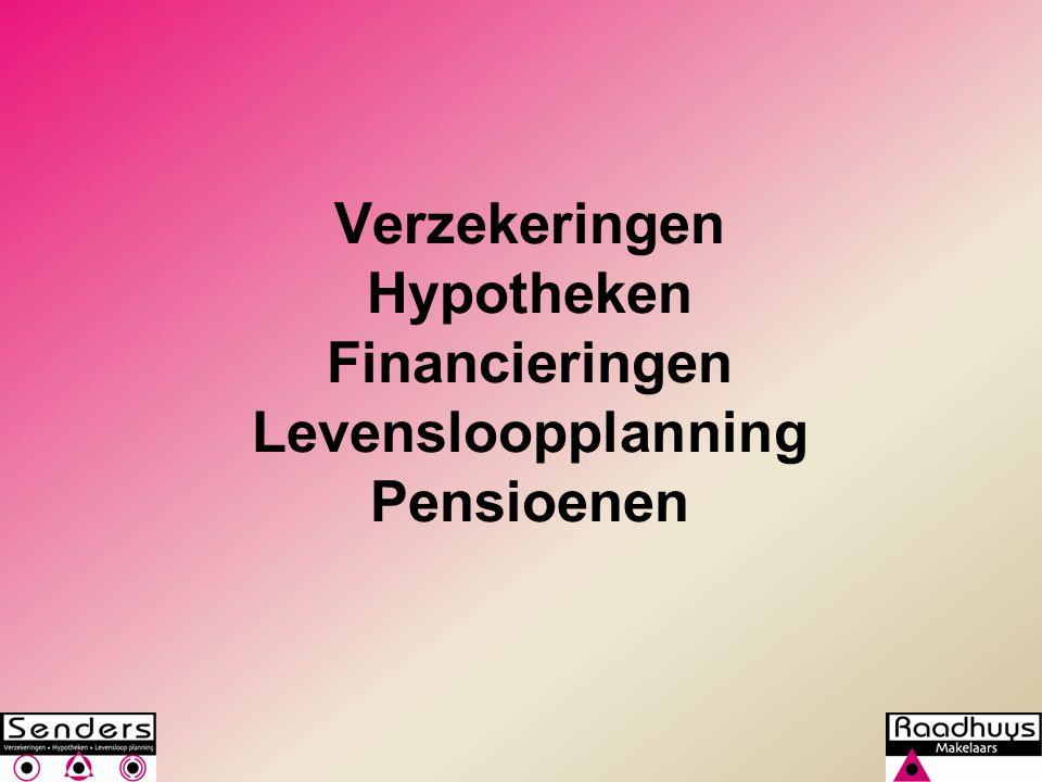 Verzekeringen Hypotheken Financieringen Levensloopplanning Pensioenen