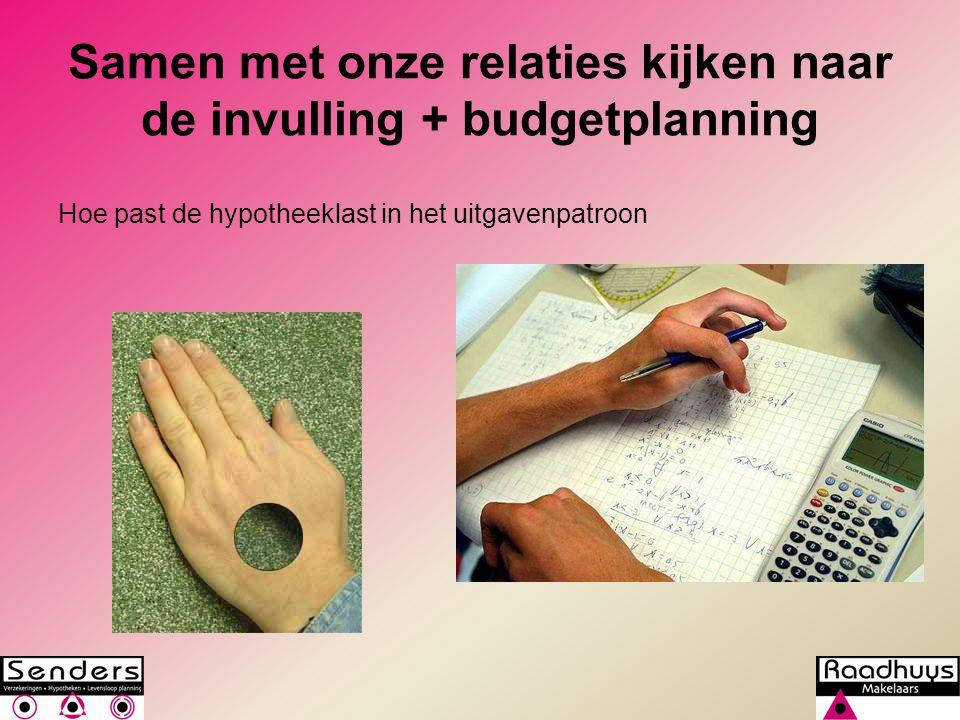 Samen met onze relaties kijken naar de invulling + budgetplanning Hoe past de hypotheeklast in het uitgavenpatroon
