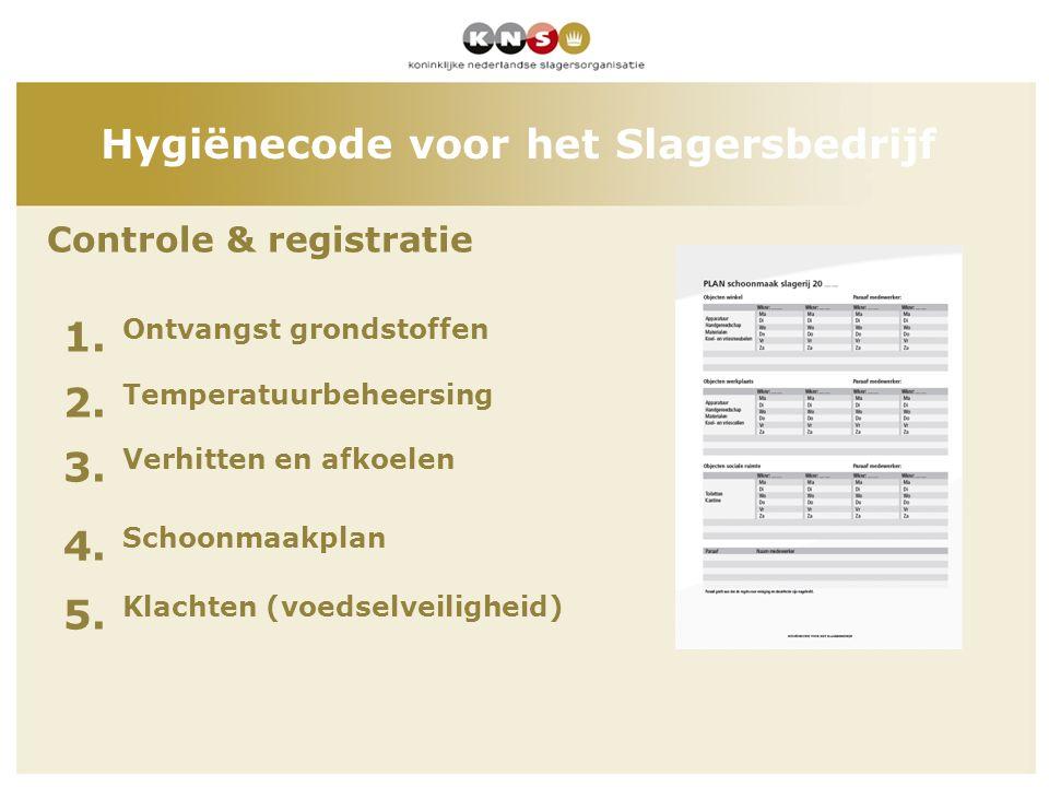 Controle & registratie 1. Ontvangst grondstoffen 2. Temperatuurbeheersing 3. Verhitten en afkoelen 4. Schoonmaakplan 5. Klachten (voedselveiligheid) H