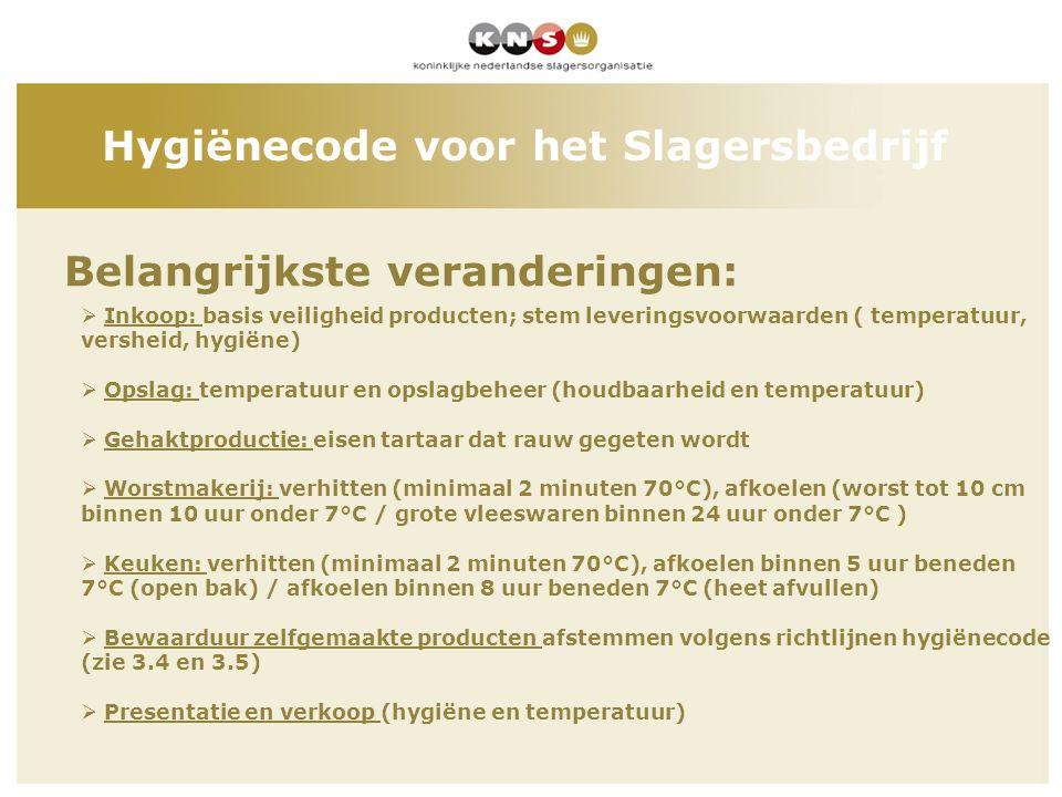 Belangrijkste veranderingen: Hygiënecode voor het Slagersbedrijf  Inkoop: basis veiligheid producten; stem leveringsvoorwaarden ( temperatuur, vershe