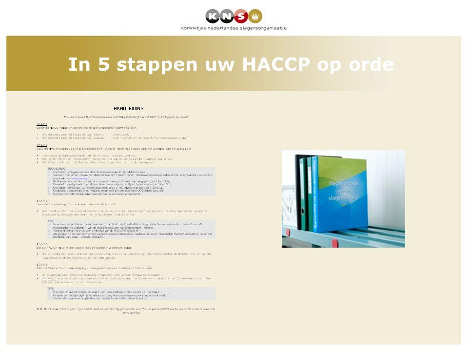 In 5 stappen uw HACCP op orde
