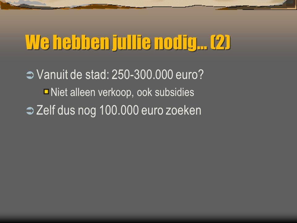 We hebben jullie nodig… (2)  Vanuit de stad: 250-300.000 euro? Niet alleen verkoop, ook subsidies  Zelf dus nog 100.000 euro zoeken