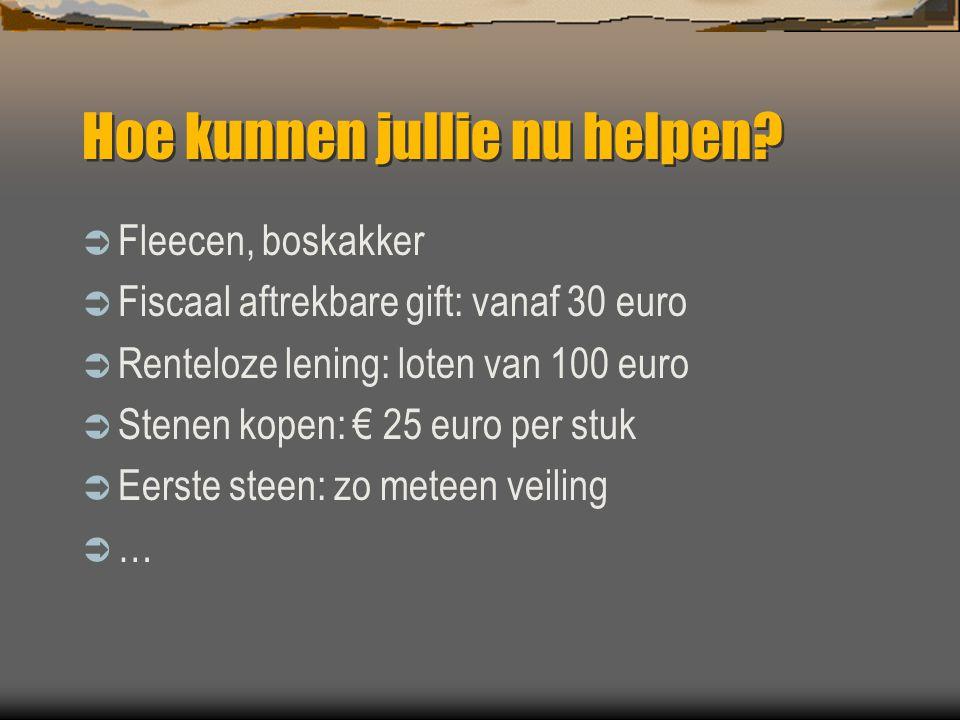 Hoe kunnen jullie nu helpen?  Fleecen, boskakker  Fiscaal aftrekbare gift: vanaf 30 euro  Renteloze lening: loten van 100 euro  Stenen kopen: € 25