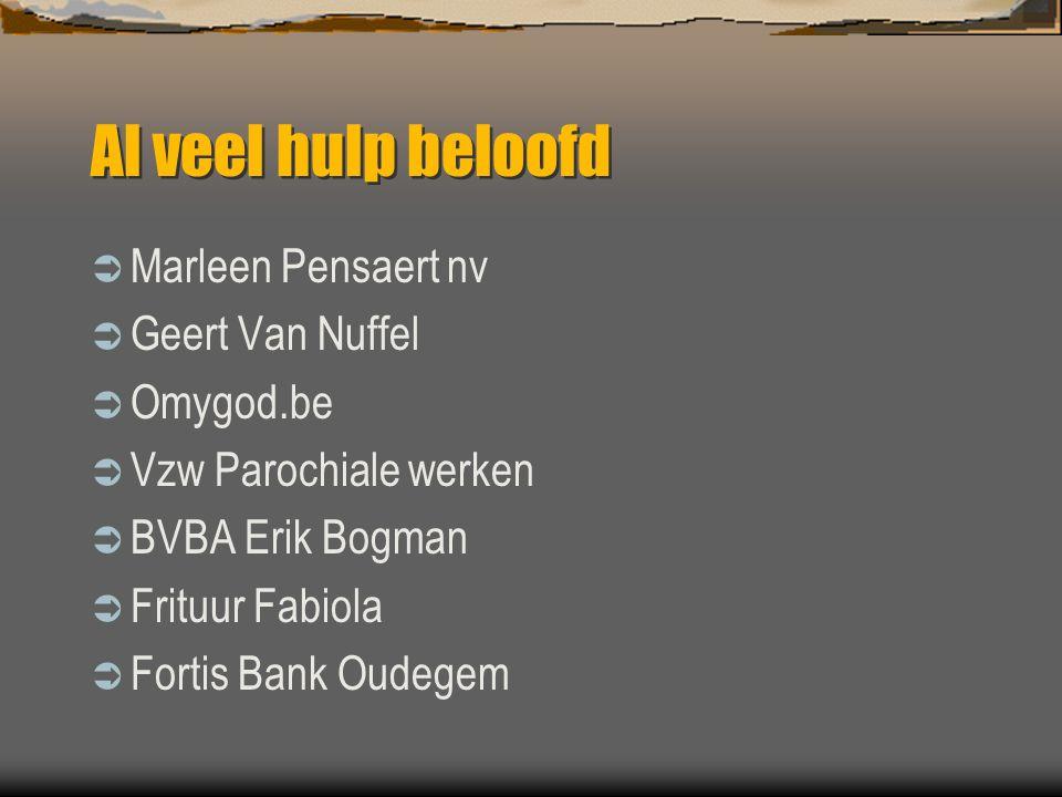 Al veel hulp beloofd  Marleen Pensaert nv  Geert Van Nuffel  Omygod.be  Vzw Parochiale werken  BVBA Erik Bogman  Frituur Fabiola  Fortis Bank O
