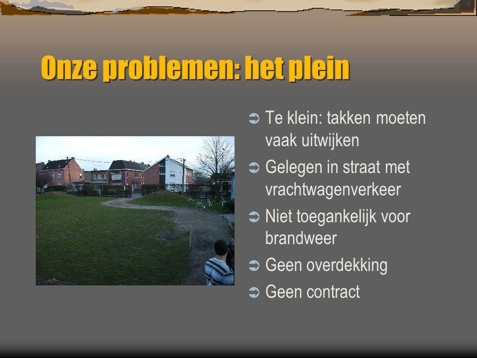 Onze problemen: het plein (2)  Toegankelijk langs twee kanten  Openbaar speelplein DUS: vandalisme, sluikstorten, diefstal…