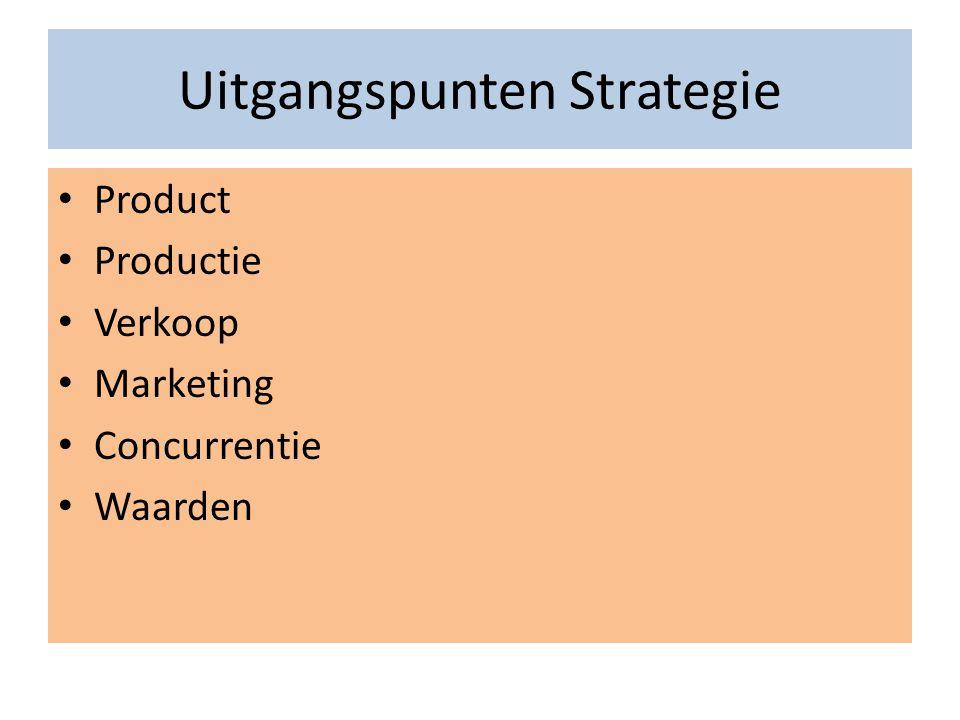 Uitgangspunten Strategie • Product • Productie • Verkoop • Marketing • Concurrentie • Waarden