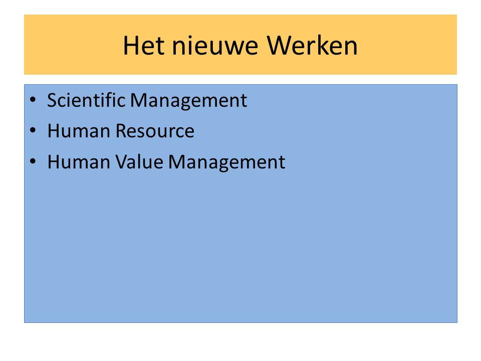 Het nieuwe Werken • Scientific Management • Human Resource • Human Value Management
