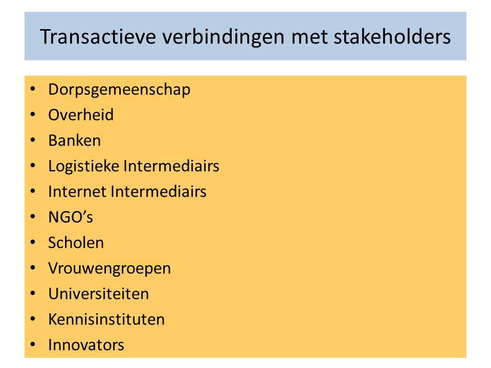Transactieve verbindingen met stakeholders • Dorpsgemeenschap • Overheid • Banken • Logistieke Intermediairs • Internet Intermediairs • NGO's • Schole