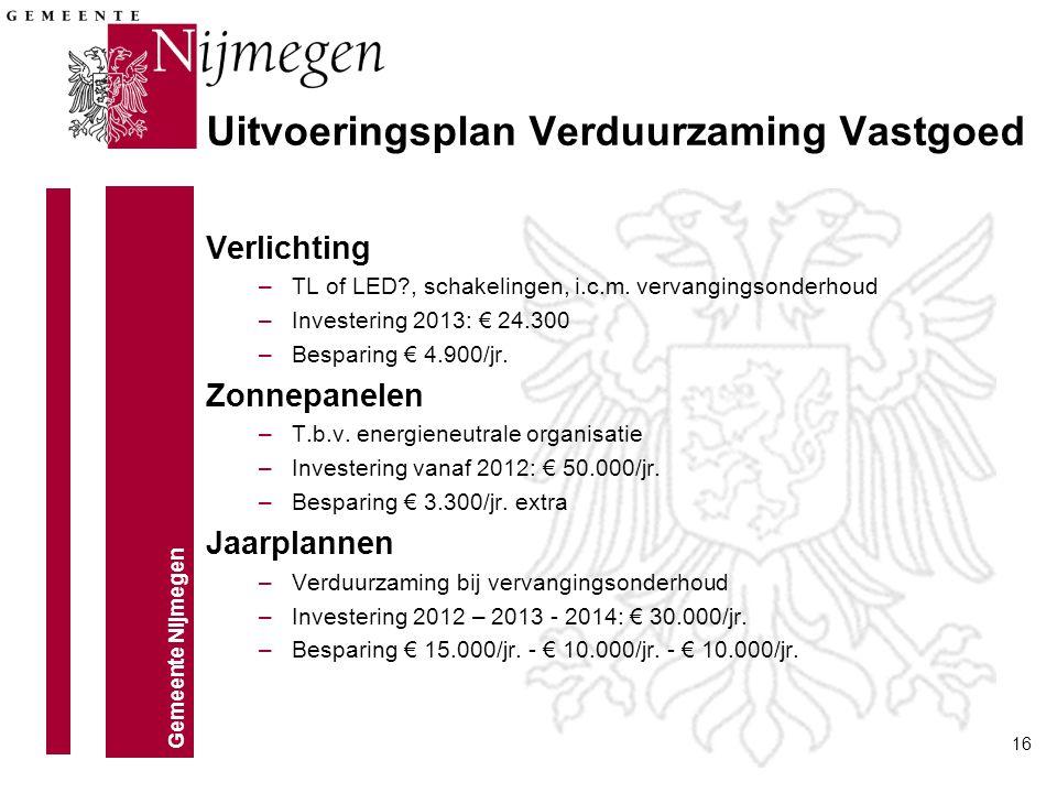 Gemeente Nijmegen 16 Verlichting –TL of LED?, schakelingen, i.c.m. vervangingsonderhoud –Investering 2013: € 24.300 –Besparing € 4.900/jr. Zonnepanele