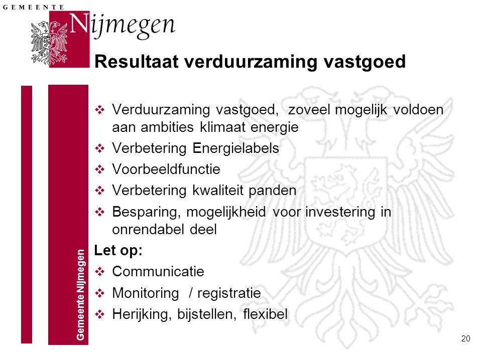 Gemeente Nijmegen 20 Resultaat verduurzaming vastgoed v Verduurzaming vastgoed, zoveel mogelijk voldoen aan ambities klimaat energie v Verbetering Ene