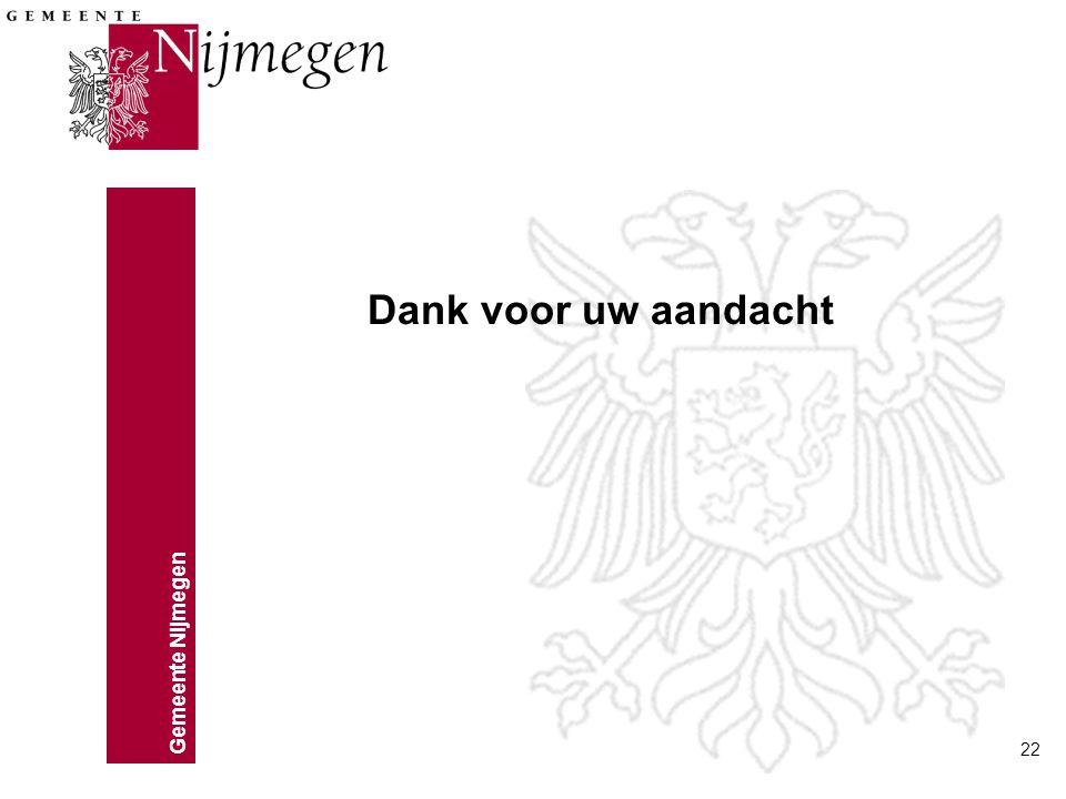 Gemeente Nijmegen 22 Dank voor uw aandacht